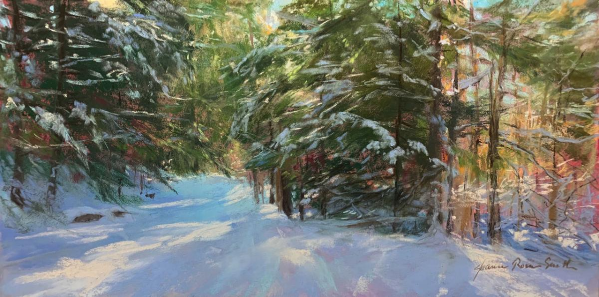 Macintosh HD:Users:francescasinnott:Downloads:Jeanne Rosier Smith- Sunlit Woods, Pastel, 8 x 16 inches.jpeg